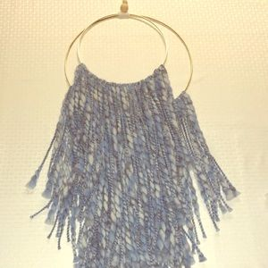 Large Yarn Wall Hanging Blue Ombré Double Layer